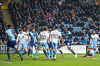 Adebayo Akinfenwa (20) of Wycombe Wanderers scores his side goal during the The Checkatrade Trophy - EFL Trophy Semi Final match between Coventry City and Wycombe Wanderers at the Ricoh Arena, Coventry, England on 7 February 2017. Photo by Andy Rowland.