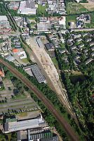 Gueterbahnhof: EUROPA, DEUTSCHLAND, HAMBURG, (EUROPE, GERMANY), 10.06.2007: Bergedorf, Gueterbahnhof, Gerhard Falk Strasse,  Weidenbaumsweg, Baustelle, Neubau, Bau, Baugrundstueck, Rueckbau, Deutsche Bahn,  Luftbild, Luftansicht, Air, Aufwind-Luftbilder.de..c o p y r i g h t : A U F W I N D - L U F T B I L D E R . de.G e r t r u d - B a e u m e r - S t i e g 1 0 2, .2 1 0 3 5 H a m b u r g , G e r m a n y.P h o n e + 4 9 (0) 1 7 1 - 6 8 6 6 0 6 9 .E m a i l H w e i 1 @ a o l . c o m.w w w . a u f w i n d - l u f t b i l d e r . d e.K o n t o : P o s t b a n k H a m b u r g .B l z : 2 0 0 1 0 0 2 0 .K o n t o : 5 8 3 6 5 7 2 0 9.C o p y r i g h t n u r f u e r j o u r n a l i s t i s c h Z w e c k e, keine P e r s o e n l i c h ke i t s r e c h t e v o r h a n d e n, V e r o e f f e n t l i c h u n g  n u r  m i t  H o n o r a r  n a c h M F M, N a m e n s n e n n u n g  u n d B e l e g e x e m p l a r !.