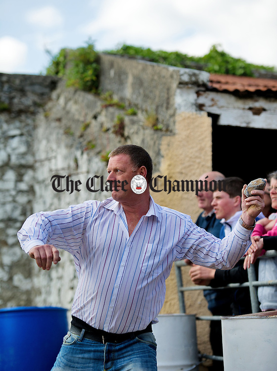 Roscommon's Pat Heneghan takes aim at the World Stone Throwing Championships in Corofin. Photograph by John Kelly.