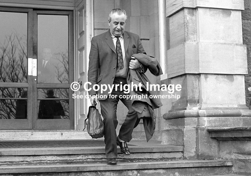Jim Baillie, secretary, Ulster Unionist Party leaves Stormont Castle, Belfast, N Ireland following cabinet meeting at which Major James Chichester-Clark confirmed his resignation as N Ireland Prime Minister. 20th March 1971. 197103200159.<br />