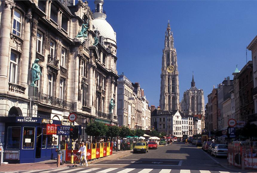 Belgium, Antwerp, Antwerpen, Europe, View of Cathedral of Our Lady (Onze Lieve-Vrouwe Kathedraal) in downtown Antwerpen