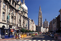 Belgium, Antwerp, Antwerpen, Europe, View of Cathedral of Our Lady (Onze Lieve-Vrouwe Kathedraal) in downtown Antwerpen
