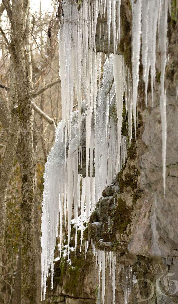 NWA Democrat-Gazette/BEN GOFF @NWABENGOFF<br /> Icicles hang from a cliff on Monday Jan. 18, 2016 along Tanyard Creek Nature Trail in Bella Vista.