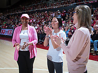 Stanford, CA - February 24, 2020: Bay Area Breast Cancer Survivors at Maples Pavilion. The No. 4 Stanford Women's Basketball team fell to the No. 3 Oregon Ducks 74-66.
