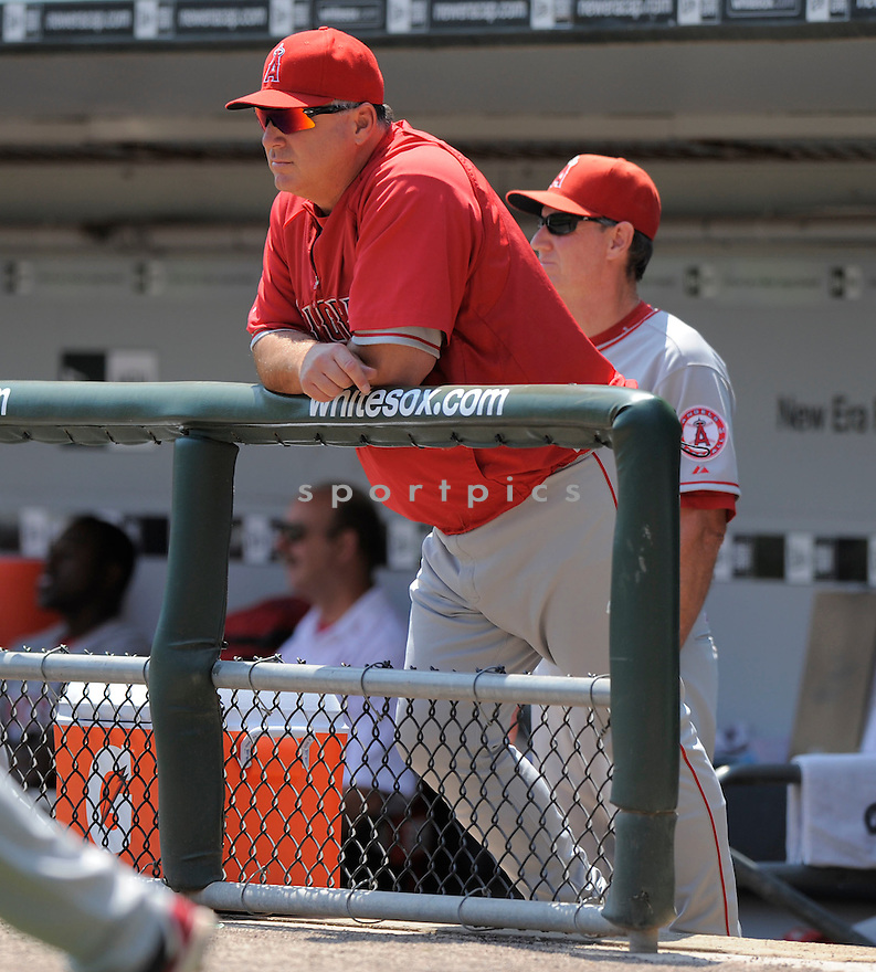 MIKE SCIOSCIA,of the Los Angeles Angels in action during the Angels  game against the Chicago White Sox.  The Angels beat the White Sox  9-5 in Chicago, Illinois on August 6, 2009...David Durochik