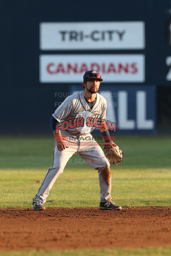 Peter Van Gassen (3) of the Tri-City Dust Devils in the field during a game against the Vancouver Canadians at Nat Bailey Stadium on July 23, 2015 in Vancouver, British Columbia. Tri-City defeated Vancouver, 6-4. (Larry Goren/Four Seam Images)