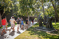 Incoming Occidental College first years go on group outings as part of OxyEngage. The trips take place the week before classes start. This group (Icons of L.A.) had lunch in Old Pasadena, eventually going to the Norton Simon Museum, August 27, 2010. (Photo by Marc Campos, Occidental College Photographer)