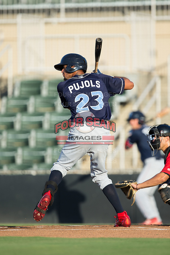 Jose Pujols (23) of the Lakewood BlueClaws at bat against the Kannapolis Intimidators at Kannapolis Intimidators Stadium on August 11, 2016 in Kannapolis, North Carolina.  The Intimidators defeated the BlueClaws 3-1.  (Brian Westerholt/Four Seam Images)