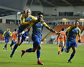 18-12-2018  FAC2 Replay Blackpool v Solihull Moor<br /> <br /> Adi Yussuf, celebrates his and Solihull's second goal with Alex Gudger, left.