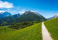 Deutschland, Bayern, Berchtesgadener Land, Ramsau bei Berchtesgaden: Gnotschaft (Ortsteil) Schwarzeck, Blick vom Soleleitungsweg (Wanderweg) in die Berchtesgadener Alpen mit Watzmann (links) 2.713 m und Hochkalter 2.607 m (Mitte) und Reiter Alpe - auch Reiter Alm genannt   Germany, Upper Bavaria, Berchtesgadener Land; Ramsau bei Berchtesgaden: district Schwarzeck, view from hiking trail 'Soleleitungsweg' towards Berchtesgaden Alps with summits Watzmann 2.713 m (left) and Hochkalter 2.607 m (middle) and Reiter Alpe mountain range, also called Reiter Alm