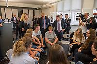 Bundesinnenminister Lothar de Maiziere (rechts) besucht die Stasi-Gedenkstaette in Berlin-Hohenschoenhausen.<br /> Am Montag den 4. September 2017 besuchte der Bundesinnenminister die Stasi-Gedenkstaette in Berlin-Hohenschoenhausen. Er wurde am Eingangstor vom Gedenkstaettendirektor Hubertus Knabe (links) begruesst und besichtigte im Anschluss das ehemalige Kellergefaengniss des sowjetischen und des DDR-Staatssicherheitsdienstes. Danach nahm er an einem Schuelerseminar zum Thema Linksextremismus mit einer Gruppe Schuelerinnen und Schueler der 9. und 10. Klasse der Gesamtschule Obersberg aus Bad Hersfeld teil.<br /> 4.9.2017, Berlin<br /> Copyright: Christian-Ditsch.de<br /> [Inhaltsveraendernde Manipulation des Fotos nur nach ausdruecklicher Genehmigung des Fotografen. Vereinbarungen ueber Abtretung von Persoenlichkeitsrechten/Model Release der abgebildeten Person/Personen liegen nicht vor. NO MODEL RELEASE! Nur fuer Redaktionelle Zwecke. Don't publish without copyright Christian-Ditsch.de, Veroeffentlichung nur mit Fotografennennung, sowie gegen Honorar, MwSt. und Beleg. Konto: I N G - D i B a, IBAN DE58500105175400192269, BIC INGDDEFFXXX, Kontakt: post@christian-ditsch.de<br /> Bei der Bearbeitung der Dateiinformationen darf die Urheberkennzeichnung in den EXIF- und  IPTC-Daten nicht entfernt werden, diese sind in digitalen Medien nach §95c UrhG rechtlich geschuetzt. Der Urhebervermerk wird gemaess §13 UrhG verlangt.]