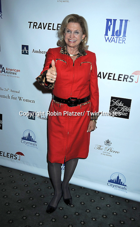 Carolyn B Maloney posing for photographers at The 24th Annual Citymeals-on-Wheels Power Lunch for Women on November 12, 2010 at The Pierre Hotel in New York City.