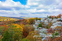 63895-16309 Camel Rock in fall color Garden of the Gods Recreation Area Shawnee National Forest IL