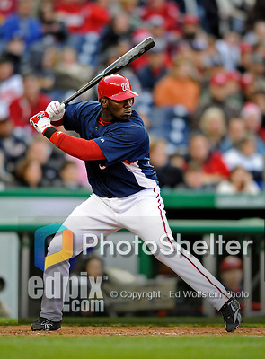 29 March 2008: Washington Nationals' outfielder Elijah Dukes stands at bat during an exhibition game against the Baltimore Orioles at Nationals Park, in Washington, DC. The matchup was the first professional baseball game played in the new Nationals Park, prior to the upcoming official opening day inaugural game. The Nationals defeated the Orioles 3-0...Mandatory Photo Credit: Ed Wolfstein Photo