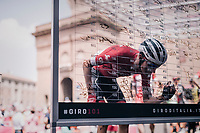 Niklas Eg (DEN/Trek-Segafredo) signing in on the sign-on podium at the race start...<br /> <br /> stage 13 Ferrara - Nervesa della Battaglia (180km)<br /> 101th Giro d'Italia 2018