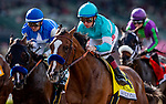 MAR 07: Authentic and Drayden Van Dyke battle for position with stablemate Thousand Words and Flavien Prat in the San Felipe Stakes at Santa Anita Park in Arcadia, California on March 7, 2020. Evers/Eclipse Sportswire/CSM