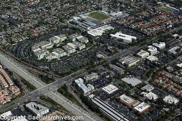aerial photograph Apple Computer headquarters Cupertino, Santa Clara county, California