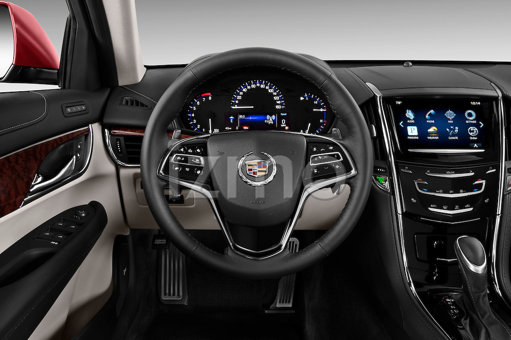 Steering wheel view of a   2013 Cadillac ATS sedan