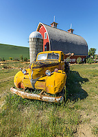 Old Yellow Truck in a Grassy Field of Palouse Washington