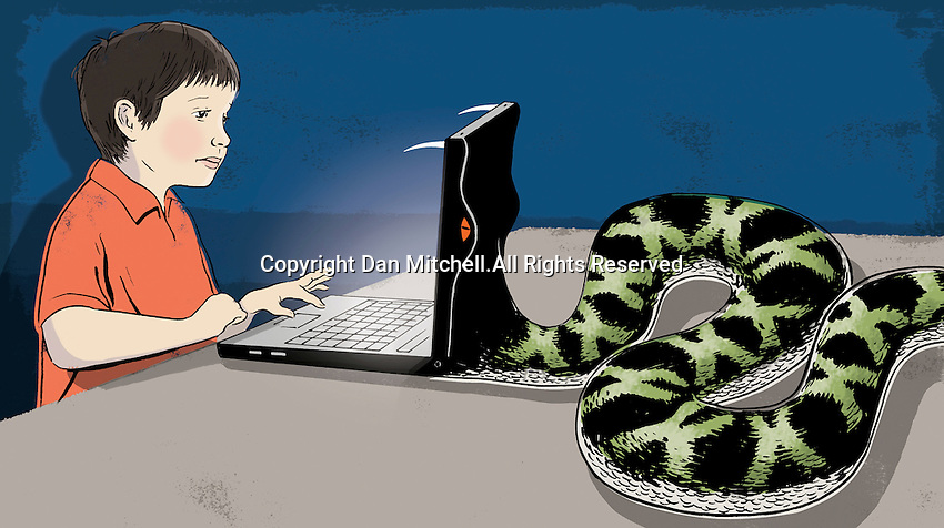 Snake eating laptop of a boy