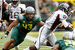09/17/11-- Oregon's Keloni Kamalani pursues Missouri State Julian Burton in the first half at Autzen Stadium in Eugene, Or....Photo by Jaime Valdez. ...............................................