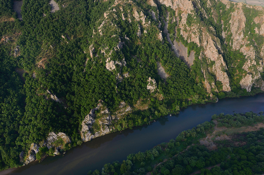 Flight shots over the Arda river canyon, Madzharovo, Eastern Rhodope mountains, Bulgaria