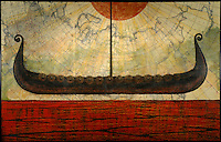 Antique map with encaustic painting and photography of viking ship over red sea with orange sun.