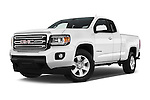 Stock pictures of low aggressive front three quarter view of 2016 GMC Canyon 2WD SLE Extended Cab 4 Door Pick-up Low Aggressive