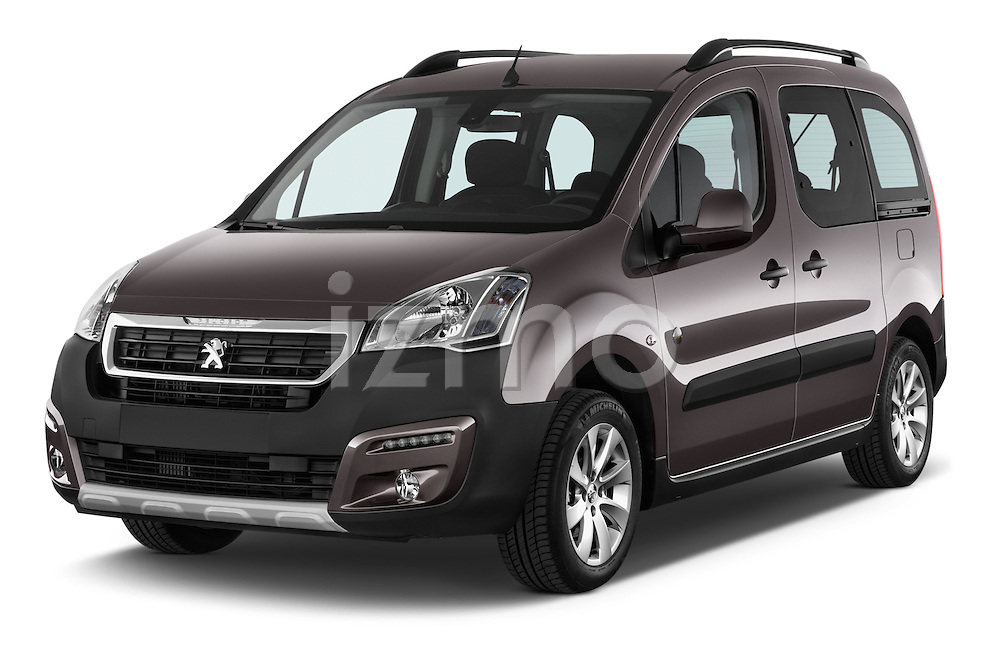 2015 Peugeot Partner Tepee Outdoor 5 Door Mini Mpv Angular Front stock photos of front three quarter view