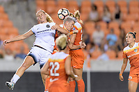 Houston, TX - Saturday July 08, 2017: Lindsey Horan and Janine van Wyk go up for a header during a regular season National Women's Soccer League (NWSL) match between the Houston Dash and the Portland Thorns FC at BBVA Compass Stadium.