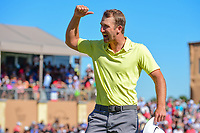 Kevin Chappell (USA) asks his caddie, Joe Greiner to &quot;Get that monkey off my back,&quot; after winning the 2017 Valero Texas Open, AT&amp;T Oaks Course, TPC San Antonio, San Antonio, Texas, USA. 4/23/2017.<br /> Picture: Golffile | Ken Murray<br /> <br /> <br /> All photo usage must carry mandatory copyright credit (&copy; Golffile | Ken Murray)