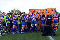 Horowhenua Kapiti players celebrate winning the 2018 Heartland Championship Lochore Cup rugby final between Horowhenua Kapiti and Wairarapa Bush at Levin Domain in Levin, New Zealand on Sunday, 28 October 2018. Photo: Dave Lintott / lintottphoto.co.nz