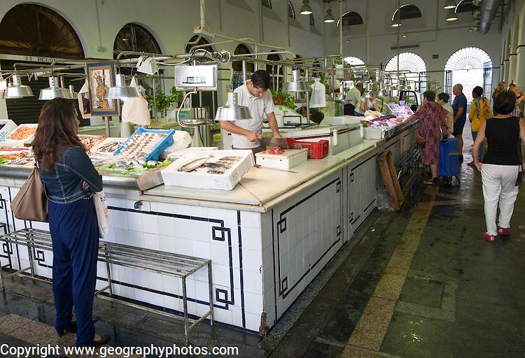 Fish stall in Bario Macerana market, Seville, Spain