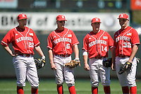 Nebraska Cornhusker infielders Cody Asche (22), Kyle Bubak (6), Kale Kiser (14) and Tyler Farst (32) against Texas on Sunday March 21st, 2100 at UFCU Dish-Falk Field in Austin, Texas.  (Photo by Andrew Woolley / Four Seam Images)