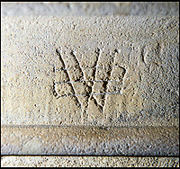 BNPS.co.uk (01202 558833)<br /> Pic: PhilYeomans/BNPS<br /> <br /> 'Marian marks' or double V's (Virgo Virginum) are the most common - illustrating the popularity of the virgin Mary...this one has a 'swastika pelta' over it to protect it from demons.<br /> <br /> Salisbury Cathedral has taken the unusual step of launching 'Grafitti Tours' of it's 800 year old building, as part of a three year project to document the thousands of examples of centuries-old 'graffiti' which adorn the walls of the 13th century cathedral.<br /> <br /> The inside of the Cathedral in Wiltshire is covered in markings etched into its fabric by fervent, desperate or just bored visitors ranging from simple inscriptions to more intricate designs used to ward off evil spirits.  <br /> <br /> Cathedral guide Steve Dunn intends to record all the marks or 'graffiti' which in some cases date back from when the cathedral was completed in 1258.<br /> <br /> Helped by about 60 volunteers, he is collating images of the graffiti and researching the story behind them.