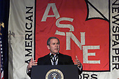 United States President George W. Bush speaks to the American Society of Newspaper Editors meeting in Washington, DC on April 5, 2001.<br /> Credit: Consolidated News Photos