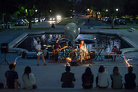 Photo from the Green Bean Fall Series Raw Records Showcase in collaboration with KOXY, October 3, 2013 at Occidental College's Gilman Memorial Fountain. In the photos are Soraya Sebghati '16 aka Peaceful Antelopus and Lillian & the Lost Boys. (Photo by Marc Campos, Occidental College Photographer)