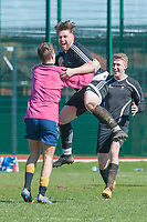 A University of Manchester Cricket Club FC player celebrates with his goalkeeper after scoring his sides second goal from distance during the finals of the University of Manchester Shield between University of Manchester Cricket Club FC and Richmond Park FC at the Armitage Sports Centre, Manchester on Saturday March 26 2017.