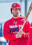25 February 2016: Washington Nationals outfielder Bryce Harper awaits his turn in the batting cage during the first full squad Spring Training workout at Space Coast Stadium in Viera, Florida. Mandatory Credit: Ed Wolfstein Photo *** RAW (NEF) Image File Available ***