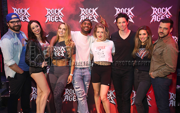 """Justin Colombo, Ashley E. Matthews, Katie Webber, Mekhai Lee, Leah Read, Michael Mahany, Autumn Guzzardi and Kevin Michael Raponey during the tech rehearsal for """"Rock of Ages"""" 10th Anniversary Production on June 13, 2019 at the New World Stages in New York City."""