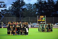 The teams huddle at halftime during the international men's hockey match between the NZ Black Sticks and Pakistan at Twin Turfs in Clareville, New Zealand on Wednesday, 22 March 2017. Photo: Dave Lintott / lintottphoto.co.nz