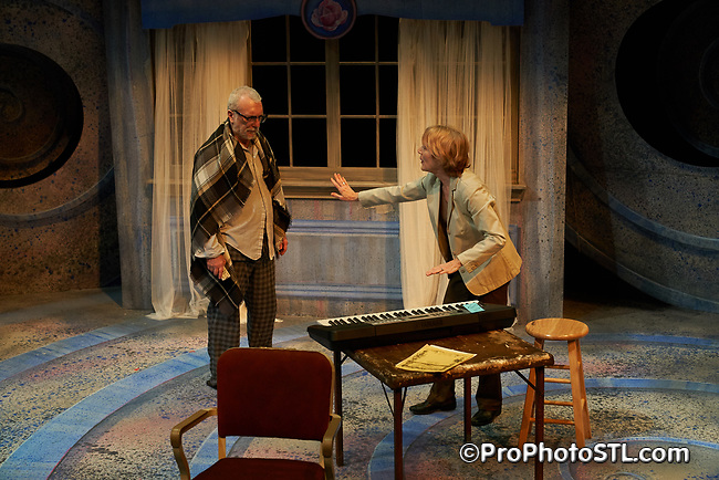 """""""A Tree, Falling"""" directed by Michael Dorsey and played by Jerry Vogel and Kari Ely, presented by Upstream Theater at Kranzberg Arts Center in St. Louis, Missouri on April 12, 2018."""