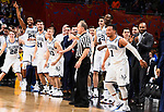 SAN ANTONIO, TX - APRIL 02: Mikal Bridges #25 of the Villanova Wildcats celebrates with his teammates after the 2018 NCAA Men's Final Four National Championship game against the Michigan Wolverines at the Alamodome on April 2, 2018 in San Antonio, Texas.  (Photo by Brett Wilhelm/NCAA Photos via Getty Images)