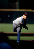 Atlanta Braves pitcher John Smoltz in action against the San Francisco Giants at Candlestick Park in San Francisco during the 1998 season. Photo by Brad Mangin.