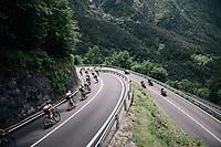 Maglia Rosa / overall leader Simon Yates (GBR/Mitchelton-Scott) descending towards the Lago di Ledro<br /> <br /> stage 17: Riva del Garda - Iseo (155 km)<br /> 101th Giro d'Italia 2018