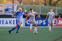 Boston, MA - Sunday May 07, 2017: Adriana Leon and Debinha De Oliveira during a regular season National Women's Soccer League (NWSL) match between the Boston Breakers and the North Carolina Courage at Jordan Field.