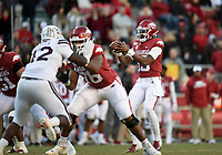NWA Democrat-Gazette/CHARLIE KAIJO Arkansas quarterback K.J. Jefferson (13) takes a snap, Saturday, November 2, 2019 during the fourth quarter of a football game at Donald W. Reynolds Razorback Stadium in Fayetteville. Visit nwadg.com/photos to see more photographs from the game.