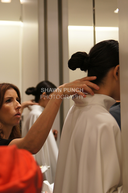 Backstage images from the Blanc de Chine Spring/Summer 2012 collection, during New York Fashion Week Spring 2012, September 10, 2011.