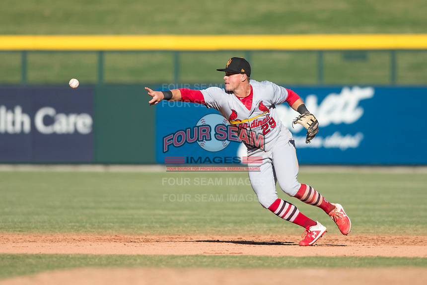 Surprise Saguaros second baseman Andy Young (29), of the St. Louis Cardinals organization, flips a ball to the shortstop to start a double play during an Arizona Fall League game against the Mesa Solar Sox at Sloan Park on November 1, 2018 in Mesa, Arizona. Surprise defeated Mesa 5-4 . (Zachary Lucy/Four Seam Images)