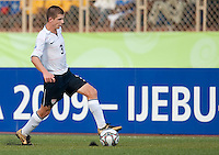 Tyler Polak dribbles the ball. US Under-17 Men's National Team defeated United Arab Emirates 1-0 at Gateway International  Stadium in Ijebu-Ode, Nigeria on November 1, 2009.